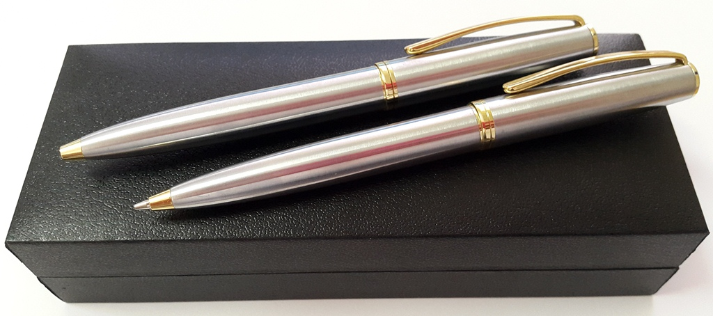 Executive pen set stainless steel gold trimmings in gift box
