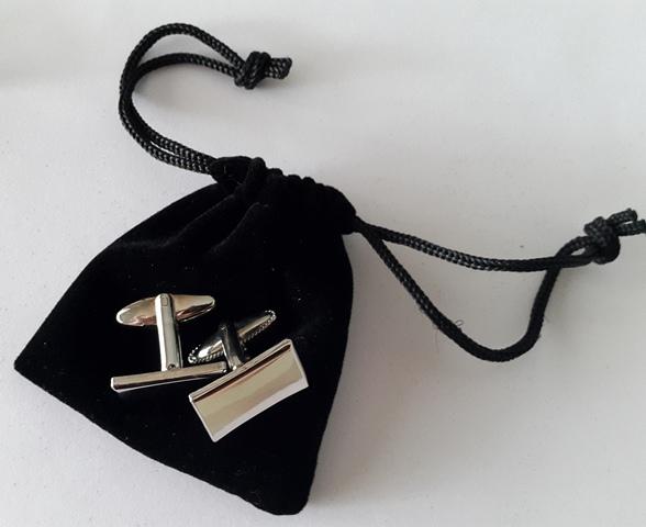 rectaungular sides cufflinks with Velvet Pouches