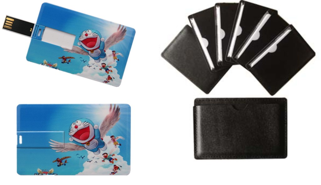 4 & 8 gig credit card usbs with leather pouch