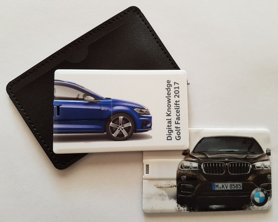 4 & 8 gig credit card usbs with leather pouch Golf 7 R and BMW