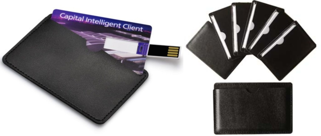 4 & 8 gig credit card usbs with leather pouches