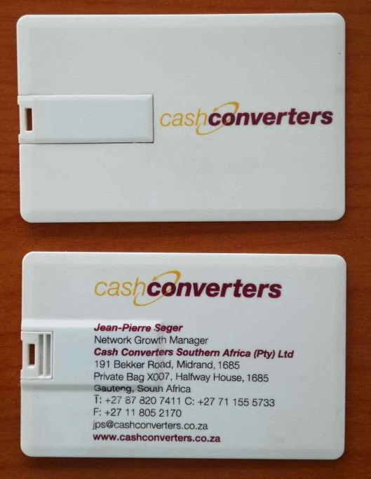 4 gig Credit Card USB Full colour Branded Cash Converters