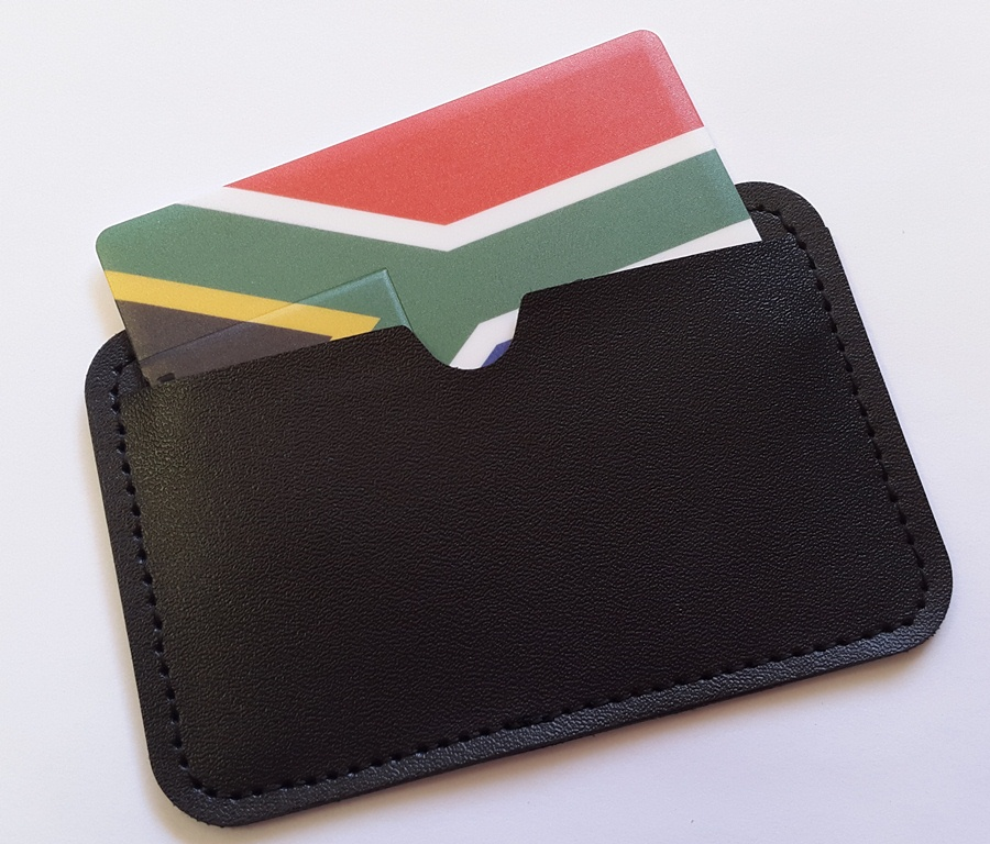credit card usb in leather pouch SA flag